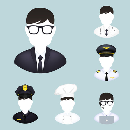 lab technician: Workers icons: doctor, police, chef, administrator, pilot
