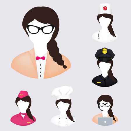 apparatus: Workers icons: nurse, police, chef, manager, stewardess