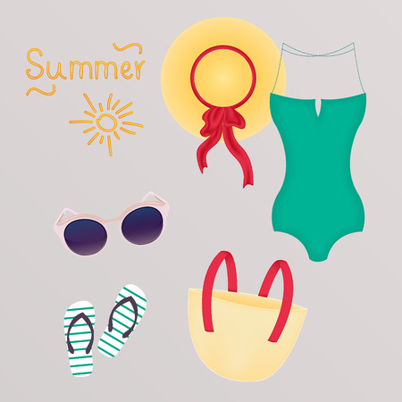 beach bag: Fashion set of summer clothes, outfit and accessories Illustration