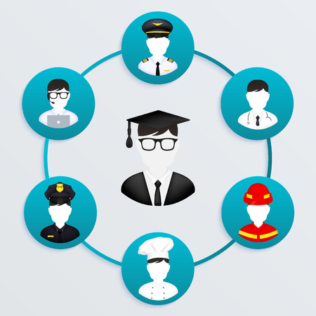 Graduation male student have different careers to choose Vector