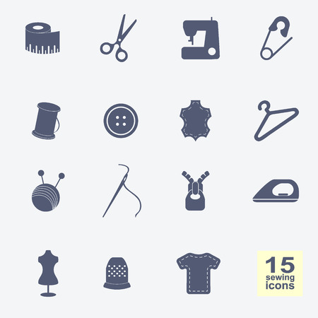 sewing kit: Vector de equipos de costura y costura iconos conjunto