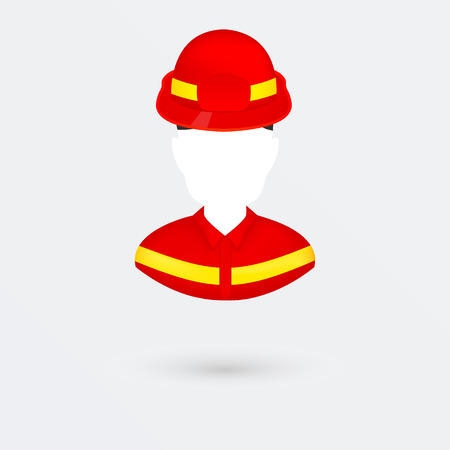kiddies: Vector Firefighter Icon. Isolated on white.