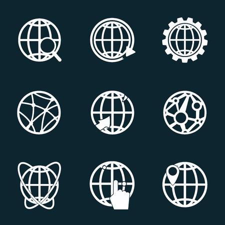 Globe white icons Vector