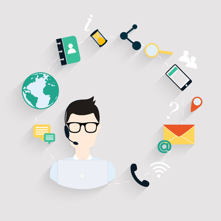 contacts: Business customer care service concept flat icons set of contact us support help desk phone call and website click for infographics design web elements.Vector illustration.