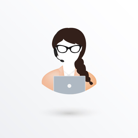 call center female: Call center operator woman with phone over white background. Vector illustration. Illustration