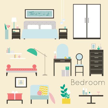 Camera da letto. Mobili e accessori - mobili camera da letto moderna, compresi i letti, divano letto, comodini, cassettiere, sedie, tavolo e lampade da terra e decorazione