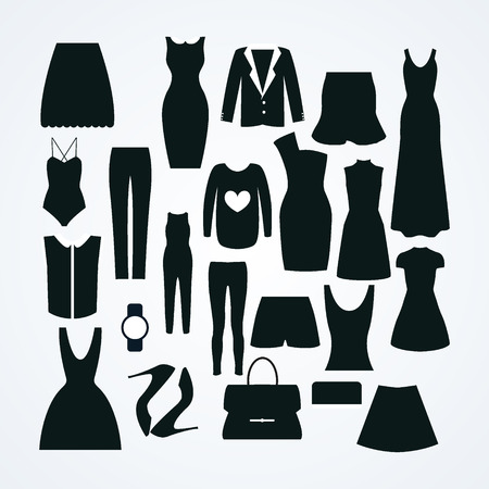 petticoat: Clothes icon vector set, vector collection of fashion signs and symbols.