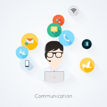 plan: Iconos planos de atenci�n al cliente de negocios concepto de servicios establecidos de Comunicaci�n Soporte de mesa de ayuda llamada de tel�fono y p�gina web clic para el dise�o de infograf�as ilustraci�n vectorial elementos de la web