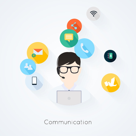 Business customer care service concept flat icons set of contact us support help desk phone call and website click for infographics design web elements vector illustration Illustration