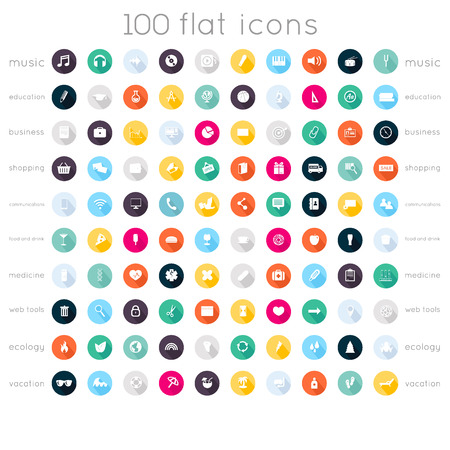 Set of 100 flat icons ( music icons, education icons, business icons, shopping icons, communication icons, food and drink icons, medical icons, web tools icons, ecology icons, vacation icons )