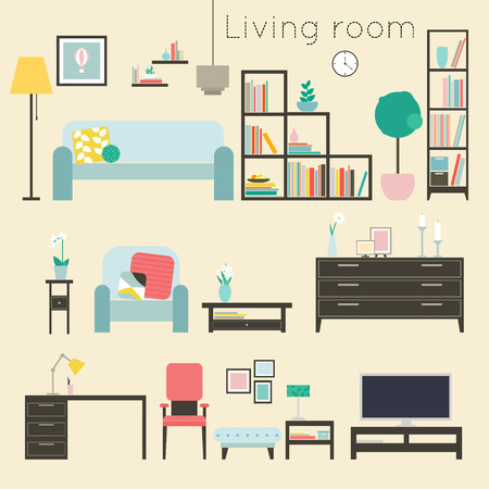 Living room. Furniture and Home Accessories, including sofas, love seat, armchairs, coffee table, side tables and home decoration