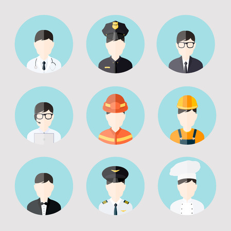 Avatar business users flat icons set of doctor policeman businessman admin cook isolated vector illustration Vector