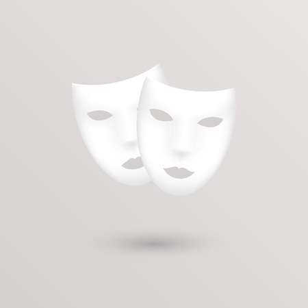 comedy disguise: Theater icon masks. Vector illustration.