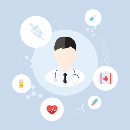 heartrate: Medical doctor. Vector illustration of a male medical doctor or general practitioner with medical icons.