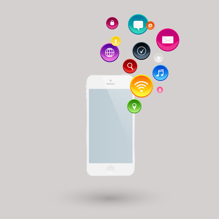 Mobile communication by smart phone apps to services available on the internet Vector