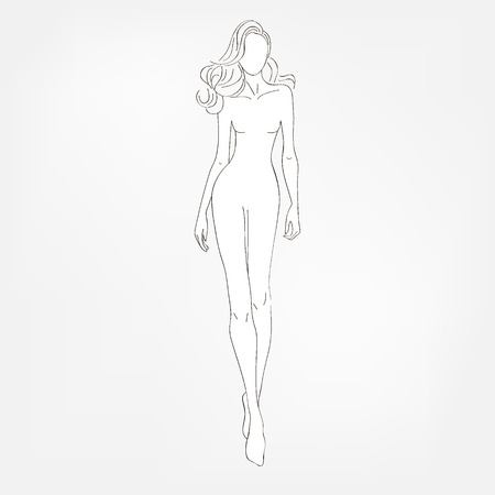 modeling: Fashion black-and-white vector illustration. Sketch.