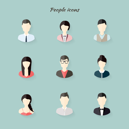 minimalist: People icons in flat modern style. Vector illustration