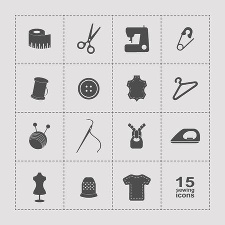 needle cushion: Vector sewing equipment and needlework icons set Illustration