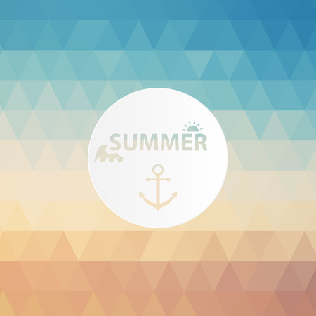 degrade: Vintage summer poster, sun rope frame. Vector file layered for easy editing.