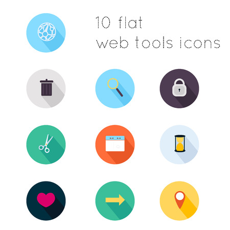 remote lock: Modern flat icons vector collection with long shadow effect in stylish colors of web tools theme. Isolated on white background.