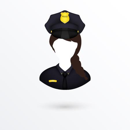 gorra polic�a: Vector Icon Mujer polic�a. Aislado en blanco. Vectores
