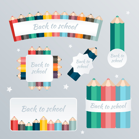 playfulness: Welcome back to school. The blank web banner pattern set with crayon decoration. Vector illustration. Illustration
