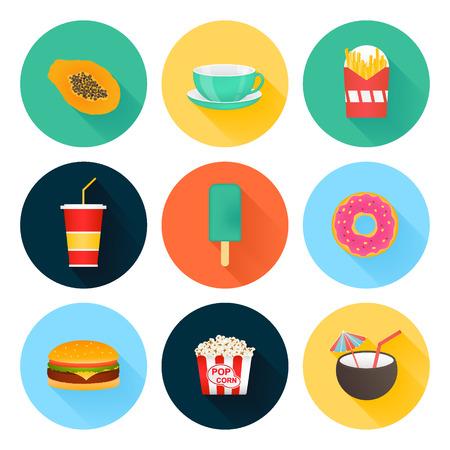 coctail: Food icons set : icecream, coctail, tea, burger