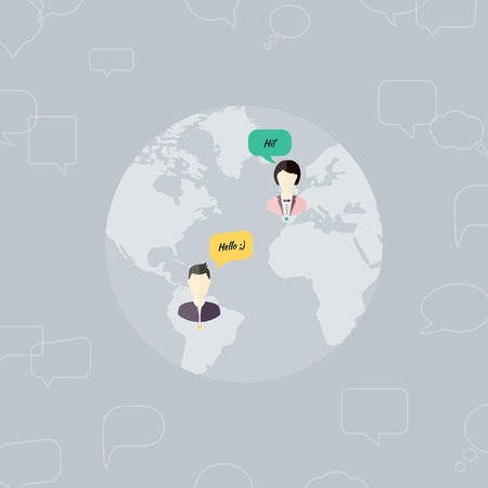 People Chatting. Vector illustration of a communication concept, relating to feedback, reviews and discussion. Illustration