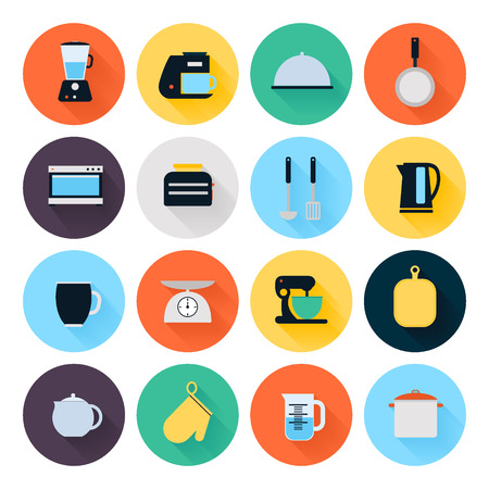 food preparation: Kitchen utensils and cookware flat icons set, cooking tools and kitchenware equipment, serve meals and food preparation elements. Modern design style vector illustration symbol collection.