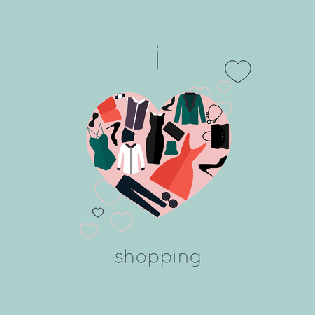 panties: I Love Shopping icon, the heart is made of different female fashion accessories. Raster version also available. Illustration