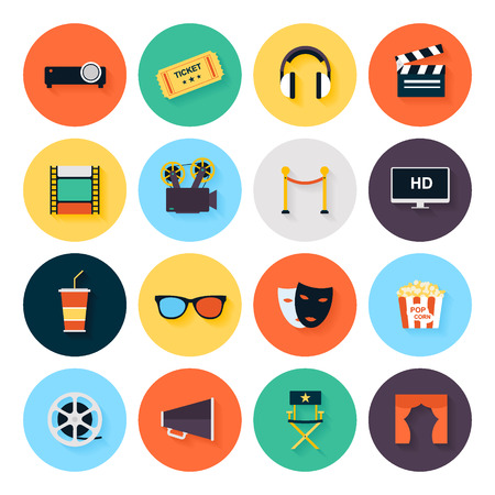 movie director: Set of movie design elements and cinema icons in flat style.