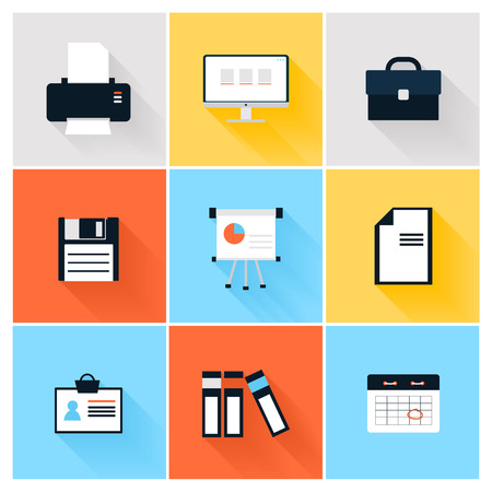 fax: Modern icons vector collection of business elements, office equipment and marketing items. Isolated on white background. Illustration