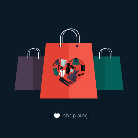 paper bags: Design template with paper bags, the heart is made of different female fashion accessories. Raster version also available.