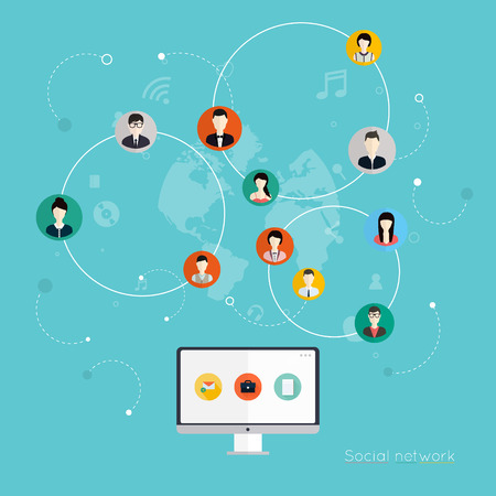 social web sites: Social Network Vector Concept. Flat Design Illustration for Web Sites Infographic Design. Communication Systems and Technologies. Illustration