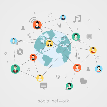 social network: Concept for social network. Concepts for web banners and printed materials.