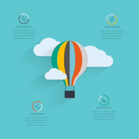 hot background: Flat vector design of the startup process, cloud storage, responsive web design, hot air balloon