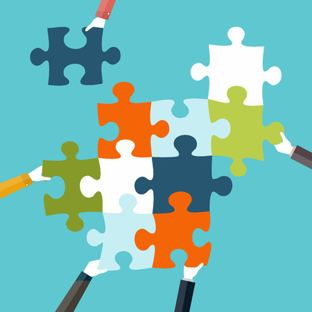 Concept of teamwork and integration with businessman holding colorful puzzle Vectores