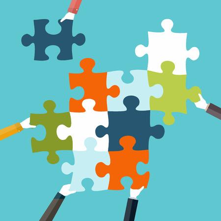 piezas de puzzle: Concepto de trabajo en equipo y la integraci�n con el empresario la celebraci�n colorido rompecabezas Vectores