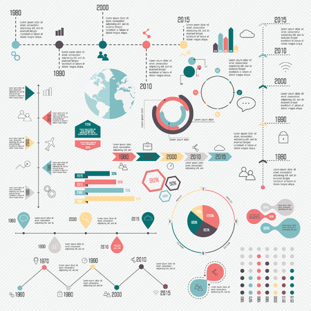 crecimiento: Conjunto de L�nea de tiempo las plantillas del dise�o de Infograf�a. Los gr�ficos, diagramas y otros elementos vectoriales para Datos y estad�sticas Presentaci�n