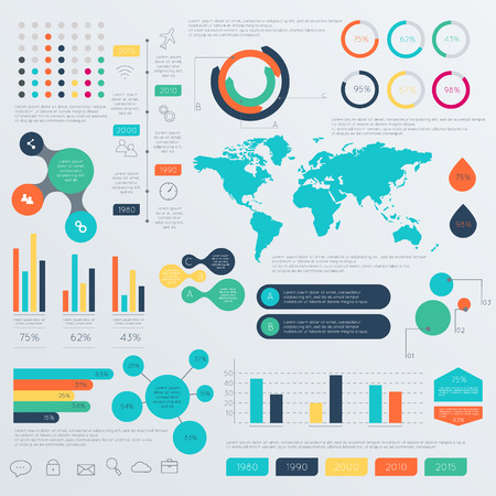 visualization: Set of Timeline Infographic Design Templates. Charts, Diagrams and other Vector Elements for Data and Statistics Presentation