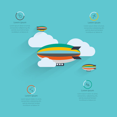 Flat vector design of the startup process, cloud storage, responsive web design, hot air balloon Vector