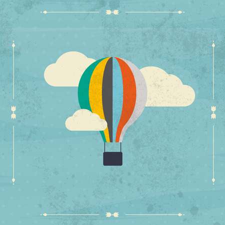 Vintage hot air balloon in the sky vector.