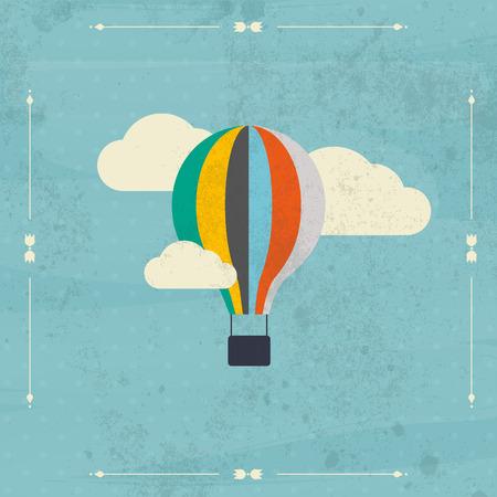 the air: Vintage hot air balloon in the sky vector.