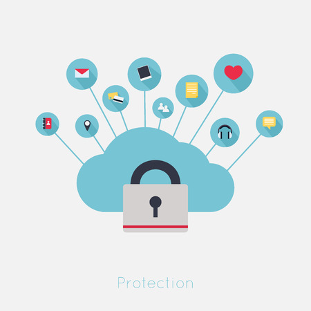 data protection: Data theft protection. Secure Cloud Computing. Cartoon vector.
