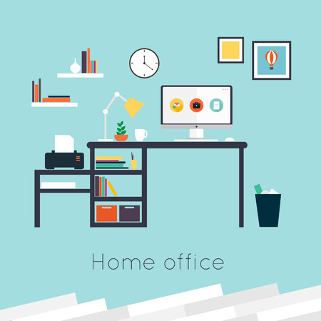 home office interior: Home office. Furniture and Accessories. Flat design vector illustration of modern home office interior with designer desktop