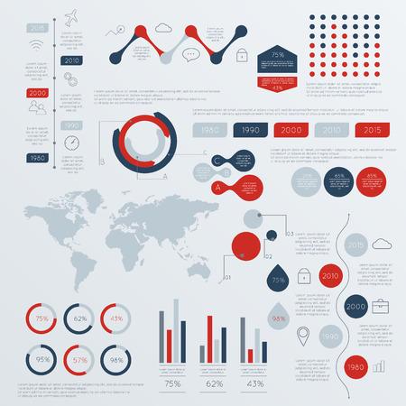 estad�stica: Conjunto de L�nea de tiempo las plantillas del dise�o de Infograf�a. Los gr�ficos, diagramas y otros elementos vectoriales para Datos y estad�sticas Presentaci�n