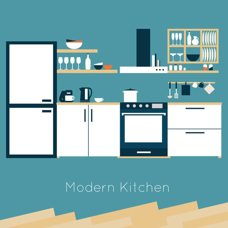 refrigerator kitchen: Kitchen interior vector illustration