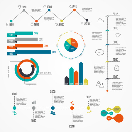 statistics: Set of Timeline Infographic Design Templates. Charts, Diagrams and other Vector Elements for Data and Statistics Presentation