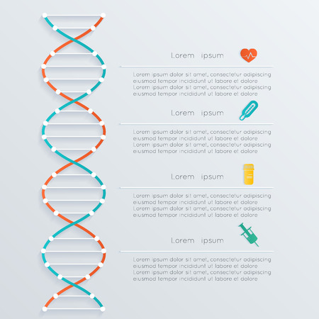 DNA banner, science infographics. Illustration contains transparency and blending effects.