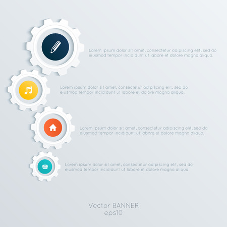 colorfully: Vector cogwheel template. Cogwheel connection, teamwork. Colorfully creative template with space for your content.